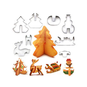 (8 Pcs) 3D Christmas Cookie Cutter