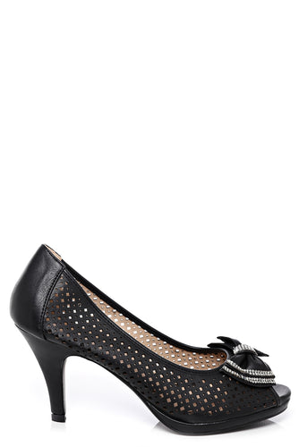 Embellished Bow Peep Toe Shoes In Black