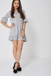 Frill Hem And Bell Sleeve Ex-Branded Grey Dress - My Berry Glam : Shop Till You Drop