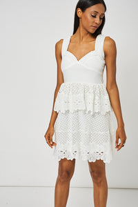 Cream Crochet Detail Peplum Dress Ex-Branded