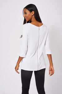 BIK BOK Cream Back Zip Top - My Berry Glam : Shop Till You Drop
