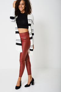 Longline Knitted Cardigan With Black And Grey Stripes - My Berry Glam : Shop Till You Drop
