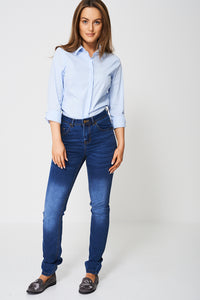 Blue Mid Rise Skinny Ex-Branded Jean With Button and Zip Closure - My Berry Glam : Shop Till You Drop