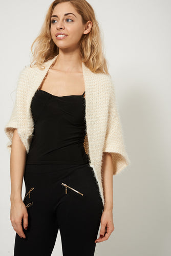 Warm Stylish Fluffy Knitted Cream Shrug - My Berry Glam : Shop Till You Drop