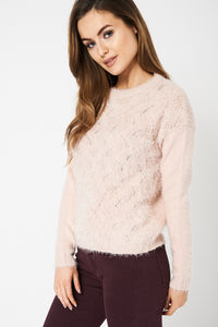 Dusty Pink Fluffy Jumper Ex-Branded