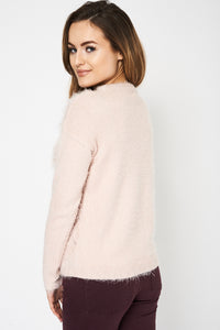 Fluffy Dusty Pink Ex Branded Jumper - My Berry Glam : Shop Till You Drop