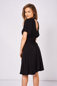 Diamonte Brooch Batwing Sleeve Dress with Slit at the Front - My Berry Glam : Shop Till You Drop