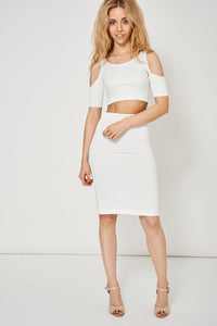 Off White Bodycon Scuba Crop Top And Skirt Set - My Berry Glam : Shop Till You Drop
