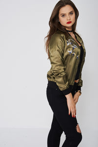 Long Sleeves With Cuffs Khaki Bomber With Embroidered Birds on Front - My Berry Glam : Shop Till You Drop