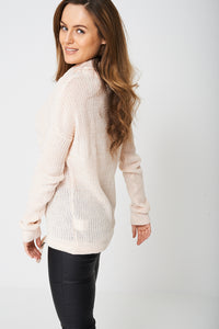 Relaxed Cowl Neck Pink Jumper With Tie Hem - My Berry Glam : Shop Till You Drop