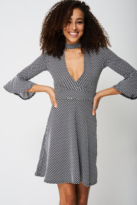 Bell Sleeve Skater Design Dress In Polka Dot - My Berry Glam : Shop Till You Drop