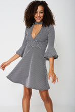 Bell Sleeve Skater Dress In Polka Dot