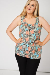 Pleat Front Floral Print Sleeveless Top - My Berry Glam : Shop Till You Drop