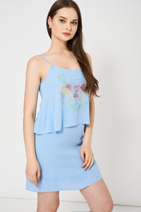 Double Layered Top Spaghetti Strap Blue Summer Dress - My Berry Glam : Shop Till You Drop