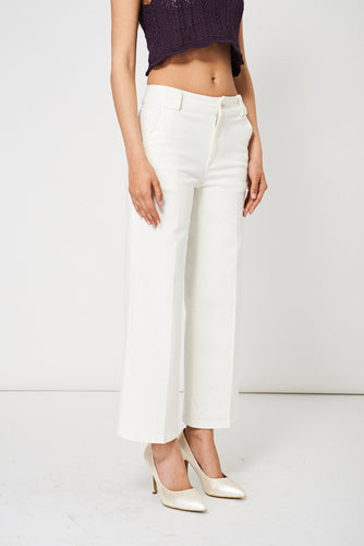 Wide Leg Cream Denim Ex-Branded Trousers With Two Side Pockets - My Berry Glam : Shop Till You Drop