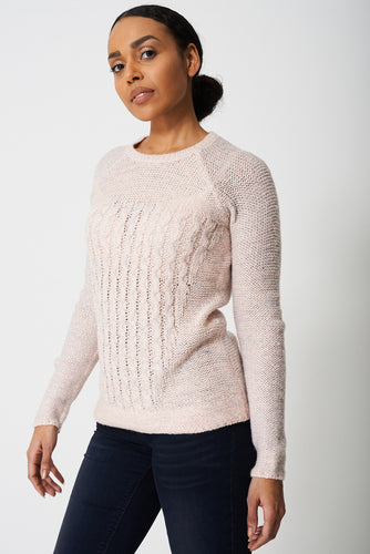 Round Neck Pink Jumper in Metallic Shimmer - My Berry Glam : Shop Till You Drop