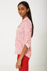 BIK BOK Pink Roll Up Sleeve Paisley Print Shirt - My Berry Glam : Shop Till You Drop