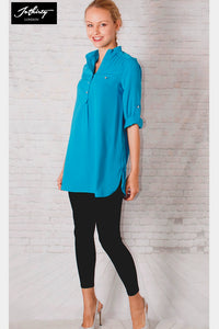 JOTHIRTY Roll-Up Sleeve Tunic Shirt in Blue