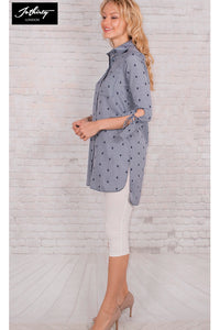 JOTHIRTY Tunic Shirt in Check and Embroidery All Over