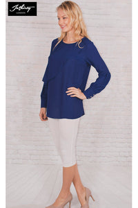 JOTHIRTY Ruffle Front Blouse with Balloon Sleeve in Blue