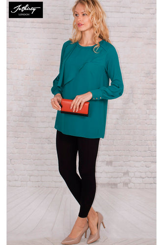 JOTHIRTY Ruffle Front Blouse with Balloon Sleeve in Teal