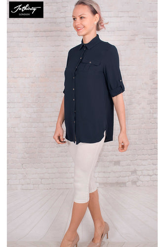 JOTHIRTY Tunic Shirt with Chest Pocket in Navy