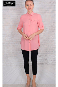 JOTHIRTY Tunic Shirt with Chest Pocket in Pink