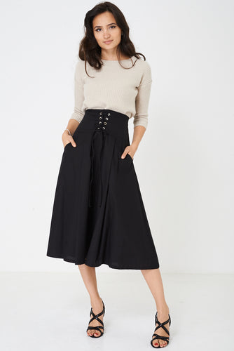 Ex Branded Maxi Black Skirt with Corset