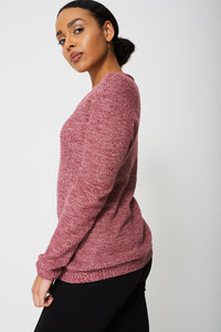 Regular Fit Textured Knit Cotton Jumper In Pink - My Berry Glam : Shop Till You Drop