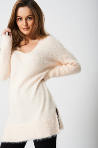 Oversized Longline Fluffy Pink Jumper - My Berry Glam : Shop Till You Drop
