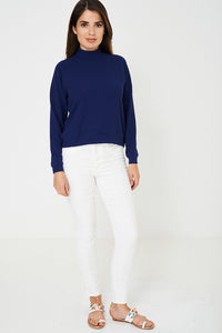 BIK BOK High Neck Stretchable Navy Jumper