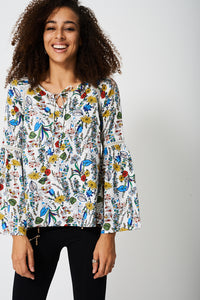 Loose Fluted Sleeve Floral Top With Tie Keyhole Front - My Berry Glam : Shop Till You Drop