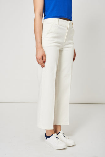Cream Denim Mid Rise Culottes Ex-Branded with Side Pockets - My Berry Glam : Shop Till You Drop