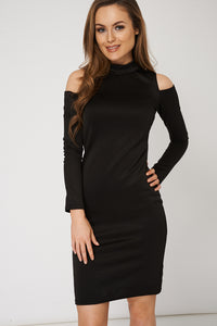 Cold Shoulder Bodycon Ex-Branded Black Dress - My Berry Glam : Shop Till You Drop