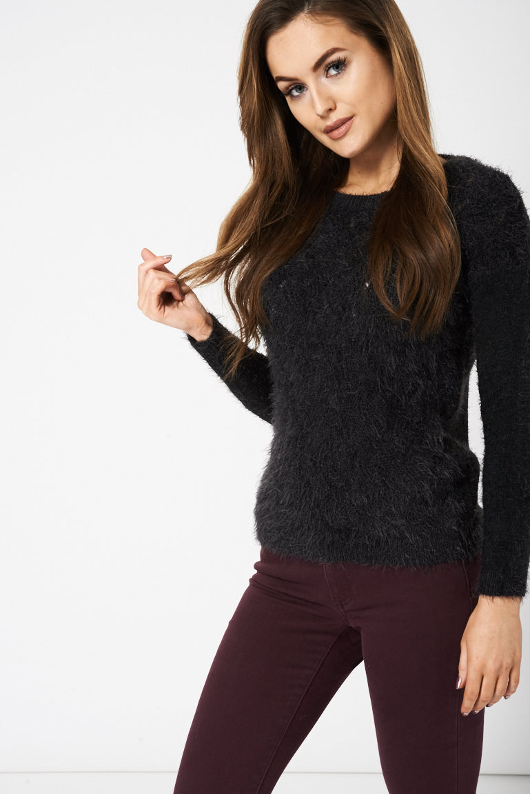 Dark Grey Fluffy Jumper Ex-Branded