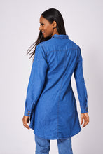 Blue Dipped Hem Denim Ex-Branded Shirt with Two Chest Pockets - My Berry Glam : Shop Till You Drop