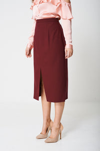 Tailored High Rise Burgundy Ex Branded Pencil Skirt - My Berry Glam : Shop Till You Drop