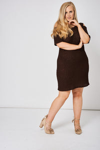 Brown Cold Shoulder Textured Dress in Plus Size - My Berry Glam : Shop Till You Drop