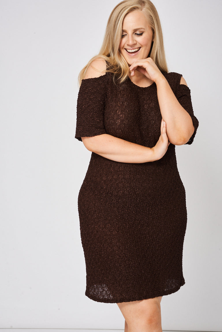 Brown Cold Shoulder Textured Dress