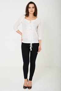BIK BOK Embroidered with Tassel White Top - My Berry Glam : Shop Till You Drop