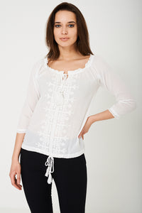 BIK BOK Embroidered White Top