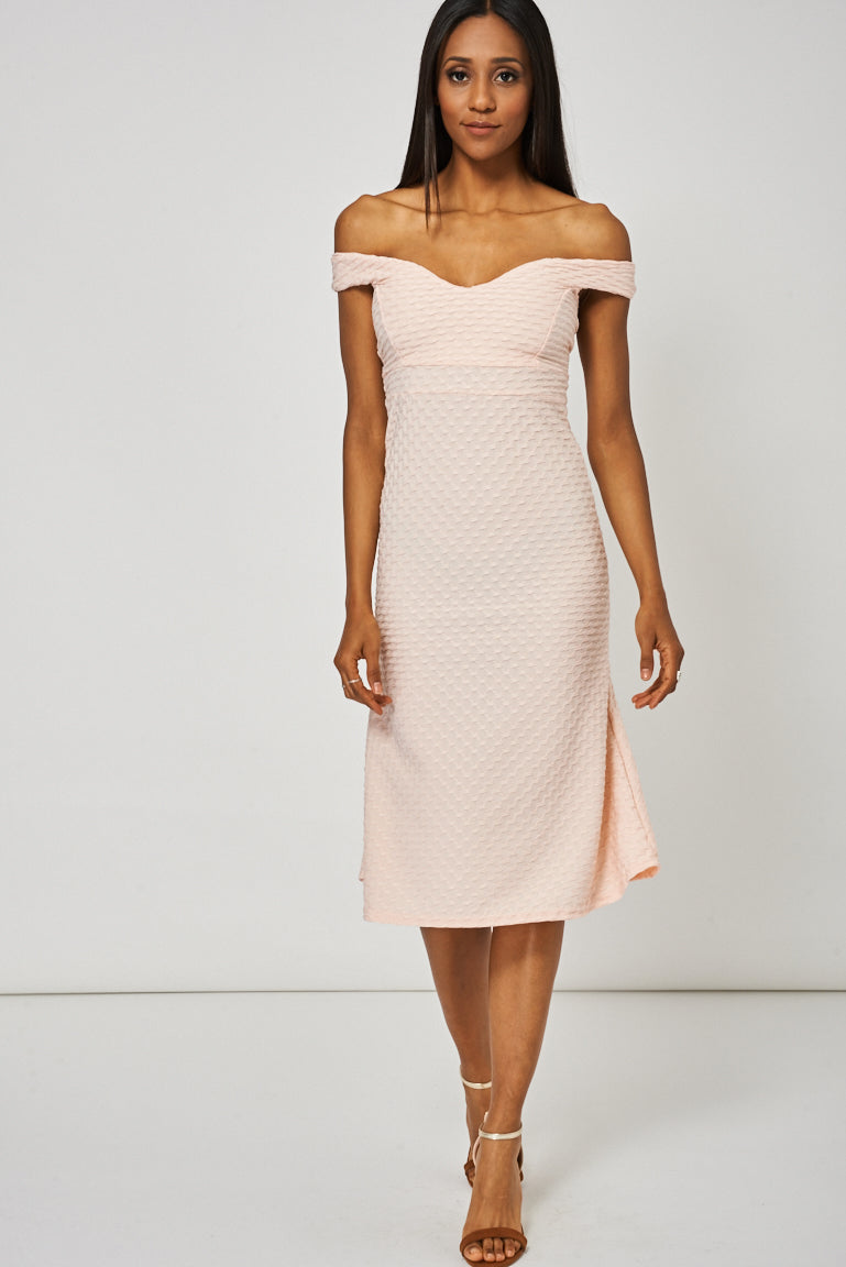 Light Peach Off Shoulder Sweetheart Dress - My Berry Glam : Shop Till You Drop