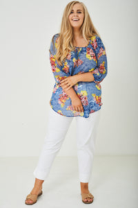 PLUS SIZE Relaxed Chiffon Flower Print Top