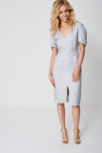 Front Split Textured Grey Dress With Seam Detail - My Berry Glam : Shop Till You Drop
