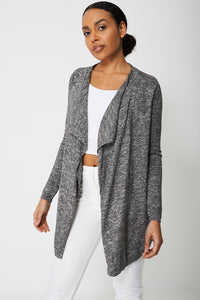 Longline Waterfall Front Ex-Branded Cardigan With Ribbed Trims - My Berry Glam : Shop Till You Drop