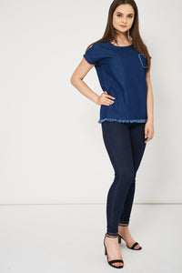 Loose Fitting Ex-Branded Blue Denim Top With Heart Front Detail - My Berry Glam : Shop Till You Drop