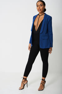 Long Sleeves Open Front Blue Tailored Blazer - My Berry Glam : Shop Till You Drop