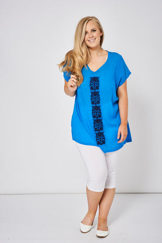 Relaxed Fit Blue Embroidered Floral Design Tunic Top - My Berry Glam : Shop Till You Drop