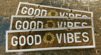Good vibes sunflower wood sign | Weathered Signs
