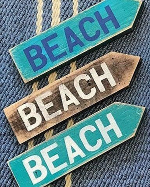 BEACH Directional Sign with Arrow